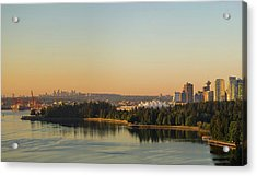 Vancouver Bc Cityscape By Stanley Park Morning View Acrylic Print by David Gn