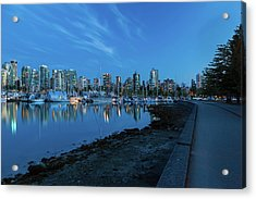 Vancouver Bc Skyline Along Stanley Park Seawall Acrylic Print by David Gn