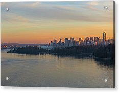 Vancouver Bc Skyline And Stanley Park At Sunset Acrylic Print