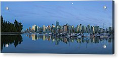 Vancouver Bc Skyline During Blue Hour Panorama Acrylic Print by David Gn