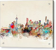 Acrylic Print featuring the painting Vancouver City Skyline by Bri B