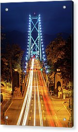 Acrylic Print featuring the photograph Vancouver Lions Gate Bridge At Night by Pierre Leclerc Photography