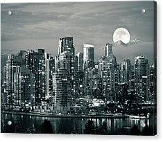 Vancouver Moonrise Acrylic Print by Lloyd K. Barnes Photography