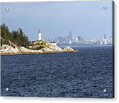 Vancouver Skyline With Lighthouse Acrylic Print by Elizabeth Fontaine-Barr