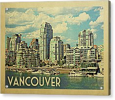 Vancouver Travel Poster Acrylic Print by Flo Karp