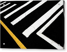 Acrylic Print featuring the photograph Vanishing Traffic Lines With Colorful Edge by Gary Slawsky