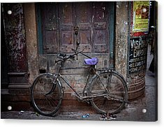 Varanasi Bicycle Acrylic Print by David Longstreath
