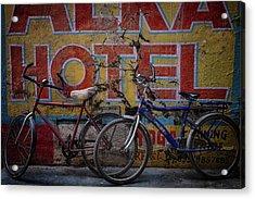 Varanasi Hotel Bicycles Acrylic Print by David Longstreath