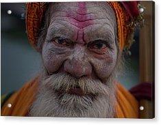 Varanasi Hoy Man 2 Acrylic Print by David Longstreath