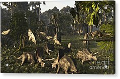 Various Dinosaurs Of The Hell Creek Acrylic Print