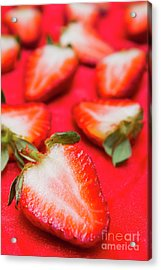 Various Sliced Strawberries Close Up Acrylic Print
