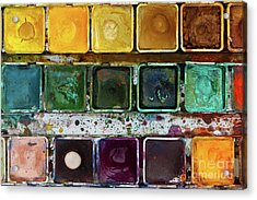 Various Watercolor Pigments In The Color-saucer Acrylic Print by Michal Boubin