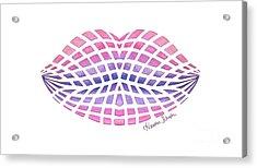 Vasarely Style Lips Acrylic Print