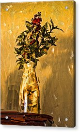 Acrylic Print featuring the digital art Vase And Flowers by Dale Stillman