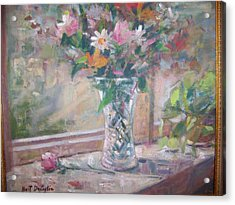 Vase And Flowers In Window Sill. Acrylic Print