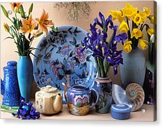 Vase And Plate Still Life Acrylic Print by Garry Gay