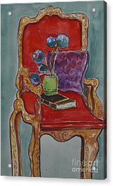 Vase Book And Chair Acrylic Print by Linda Rupard