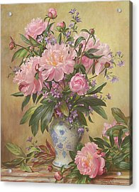 Vase Of Peonies And Canterbury Bells Acrylic Print by Albert Williams