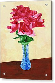 Acrylic Print featuring the painting Vase Of Red Roses by Rodney Campbell