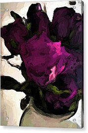 Vase Of Roses With Shadows 1 Acrylic Print