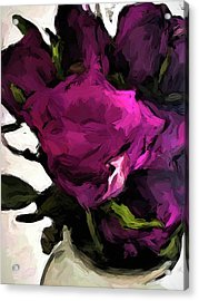 Vase Of Roses With Shadows 2 Acrylic Print