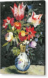 Vase With A Bird Acrylic Print by Nira Schwartz