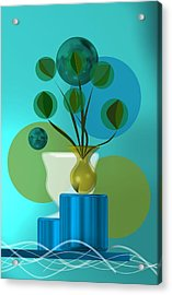 Vase With Bouquet Over Blue Acrylic Print