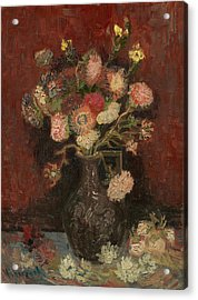 Vase With Chinese Asters And Gladioli Acrylic Print by Vincent van Gogh