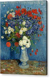 Vase With Cornflowers And Poppies Acrylic Print by Vincent Van Gogh