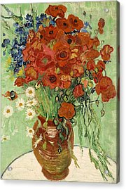 Acrylic Print featuring the painting Vase With Daisies And Poppies by Van Gogh