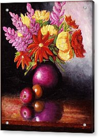 Acrylic Print featuring the painting Vase With Flowers by Gene Gregory