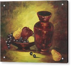 Vase With Fruit Bowl Acrylic Print by Cathy Robertson
