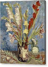 Vase With Gladioli And China Asters Acrylic Print by Vincent van Gogh