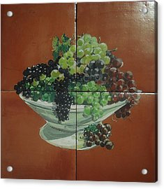 Vase With Grapes Acrylic Print by Andrew Drozdowicz