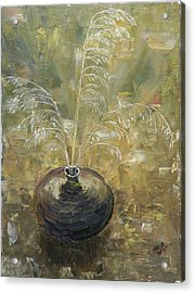 Vase With Wheat. Acrylic Print by Mila Ryk