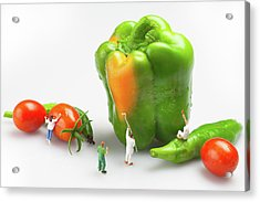 Acrylic Print featuring the painting Vegetable Painting Little People On Food by Paul Ge