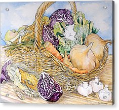 Vegetables In A Basket Acrylic Print by Joan Thewsey