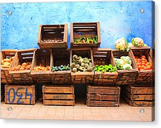 Acrylic Print featuring the photograph Veggies And The Blue Wall by Ramona Johnston