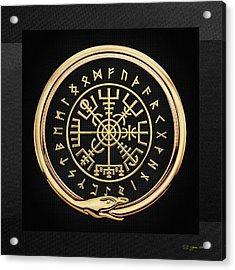 Vegvisir - A Magic Icelandic Viking Runic Compass - Gold On Black Acrylic Print
