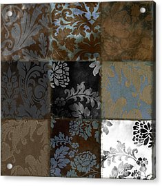 Velvet Patch Cocoa And Blue Acrylic Print by Mindy Sommers
