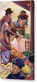 Vendors In La Paz Bolivia Acrylic Print by George Chacon