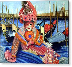 Venetian Carneval Mask With Gondolas Acrylic Print