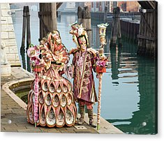 Venetian Couple Along The Canal Acrylic Print