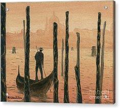 Venetian Gondolier In The Sunset Acrylic Print by Italian Art