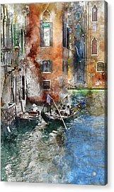 Venetian Gondolier In Venice Italy Acrylic Print