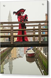 Venetian Lady On Bridge In Burano Acrylic Print