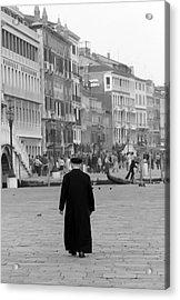 Venetian Priest And Gondola Acrylic Print by KG Thienemann