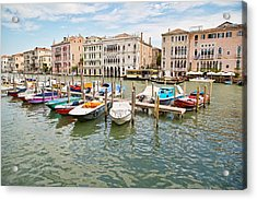 Acrylic Print featuring the photograph Venice Boats by Sharon Jones