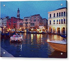 Acrylic Print featuring the photograph Venice By Night by Anne Kotan