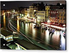 Venice Canal At Night Acrylic Print by Patrick English